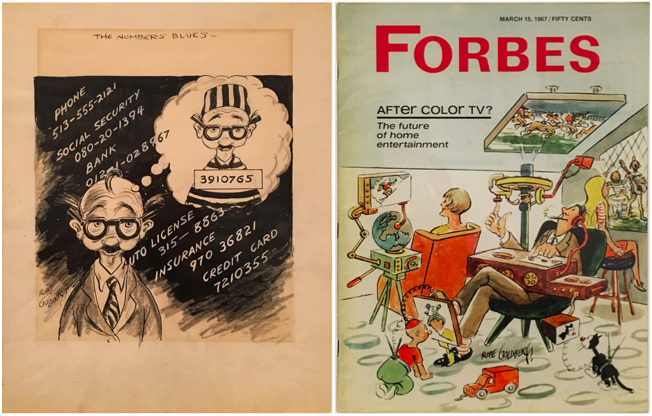 "Left: ""The Numbers Blues,"" c. 1940s - '50s. Right: ""Forbes"" magazine cover, 1967."