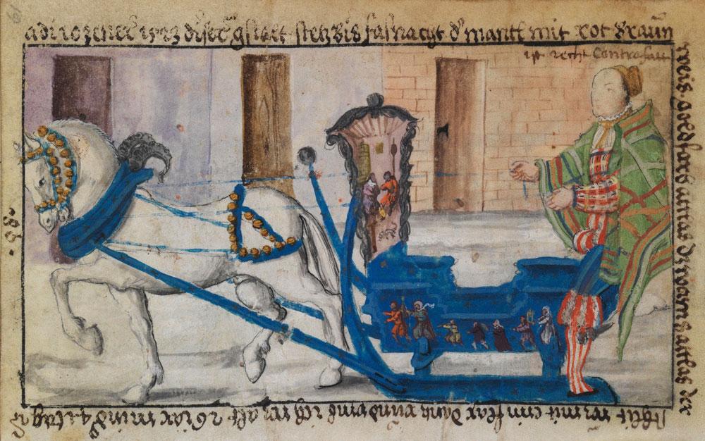 An image from 1523 showing Schwarz driving a sleigh while wearing a hip-length cloak. © The Herzog Anton Ulrich Museum, Braunschweig (Bild 58).