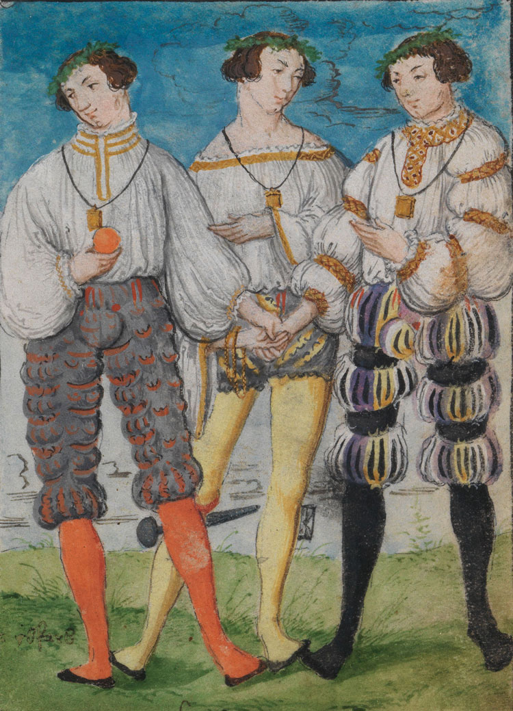 A few pages include multiple portraits of Schwarz to compare certain styles, such as this image from June of 1524, where he is shown wearing three types of Prussian leather hose and shirts. According to the text, an eight minute hour-glass was attached to his thigh in the middle outfit.