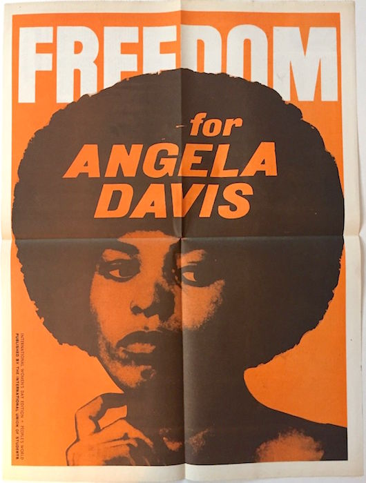 In 1970, Black Panther supporter Angela Davis was charged with conspiracy and jailed, but nearly two years later, she was acquitted of the charges. In the meantime, she became the poster girl for the radical movement. (Via eBay)
