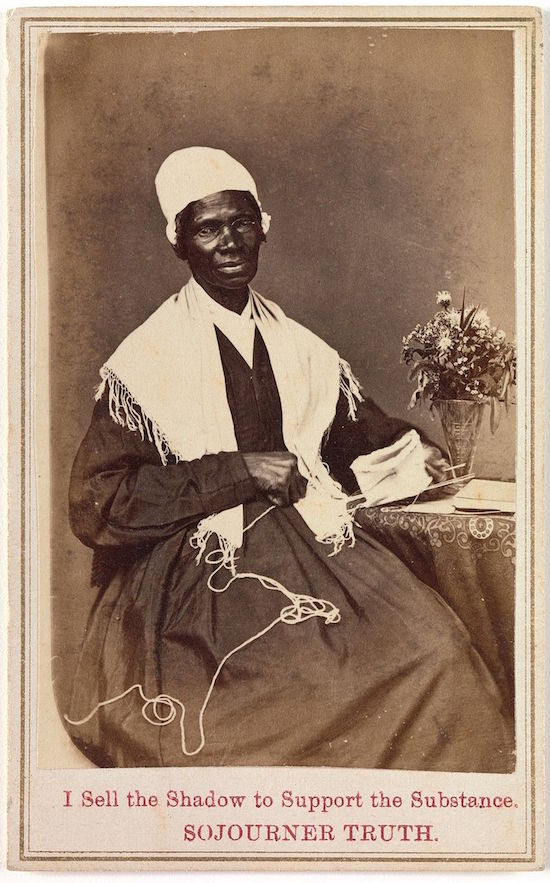 This 1864 carte-de-visite promoted Sojourner Truth's book Narrative of Sojourner Truth: A Northern Slave, the sales of which funded her anti-slavery lecture tour. (Via Gladstone Collection, Prints and Photographs Division, Library of Congress)