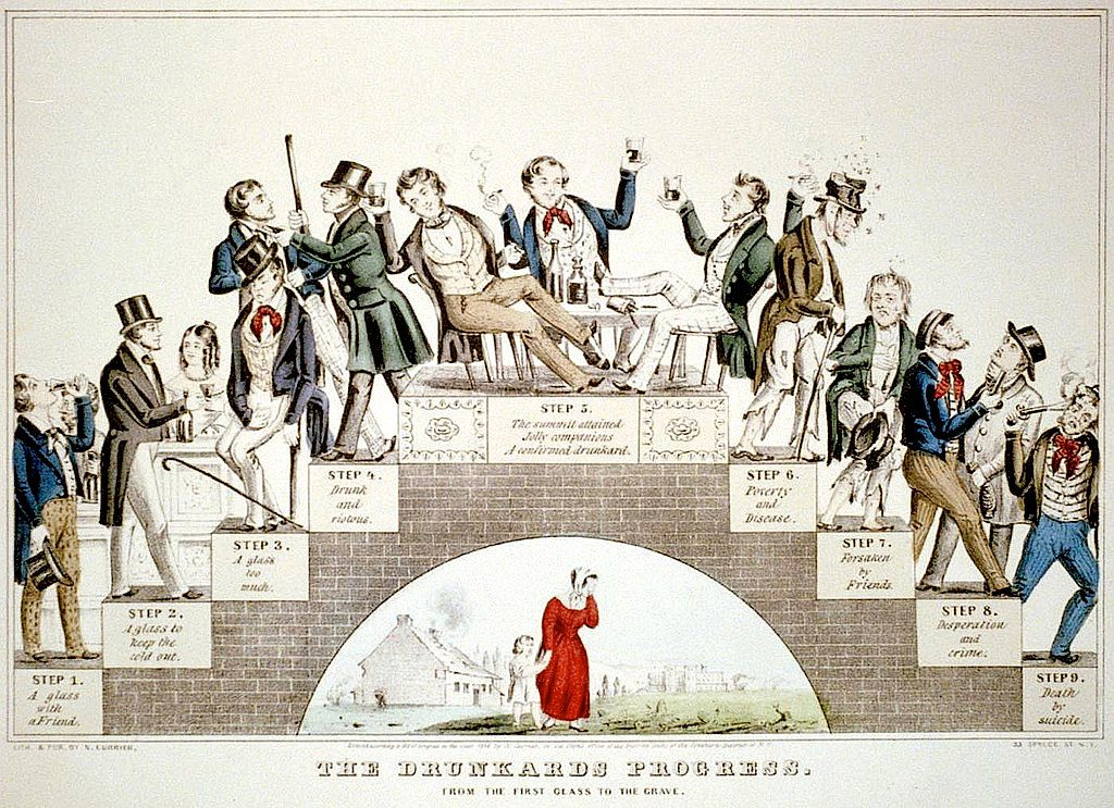 "Nathaniel Currier made this 1846 lithograph, ""The Drunkard's Progress; From the First Glass to the Grave,"" to support the temperance movement. The cartoon asserts that it's just a few steps from ""drunk and riotous"" to ""poverty and disease."" Click to enlarge. (Via Library of Congress)"