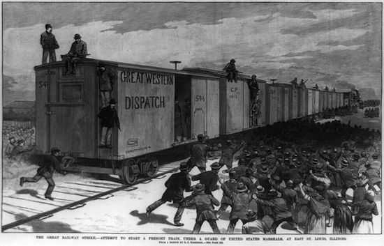 "In this newspaper illustration, strike breakers attempt to start a freight train, under a guard of United States marshals, at East St. Louis, Illinois, during the Great Southwest Railroad Strike of 1886. (First published April 10, 1886, ""Frank Leslie's Illustrated Newspaper."" Via Library of Congress)"