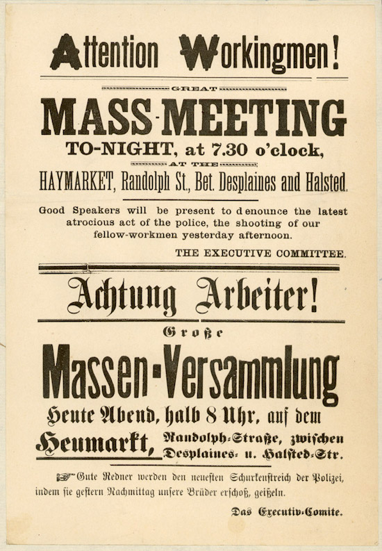 A bilingual English-German flier notifying people of a rally in support of striking workers at Haymarket Square, Chicago, on May 4, 1886. (Via WikiCommons)