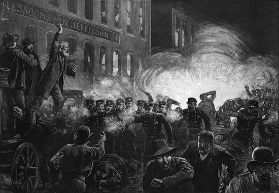 "The Haymarket Riot, a labor conflict that killed seven police officers and four protestors, as depicted in the May 15, 1886, edition of ""Harper's Weekly."" (Via WikiCommons)"