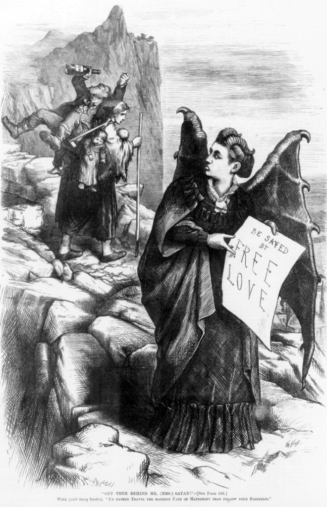 "Santa Claus creator Thomas Nast drew this 1872 ""Harper's Weekly"" political cartoon depicting free-love advocate Victoria Woodhull as a devil failing to tempt a faithful wife away from the burdens of her children and drunk husband. (Via Library of Congress)"