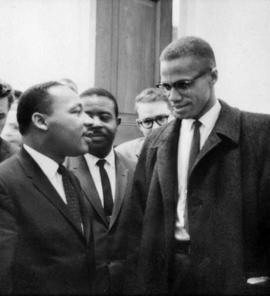 Martin Luther King, Jr. and Malcolm X meet before a press conference. Both men had come to hear the Senate debate on the Civil Rights Act of 1964. This was the only time the two men ever met; their meeting lasted only one minute. (Via Library of Congress)
