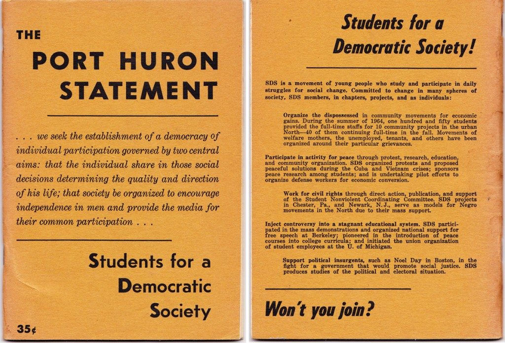 The Port Huron Statement, written in 1962 by Tom Hayden and others, urged Americans to participate in nonviolent civil disobedience to stand up to racism and war. Click to see larger.