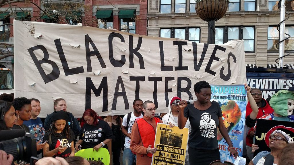 Protestors rally at a 2015 Black Lives Matter demonstration in Baltimore. (From the Millions March Facebook event page)