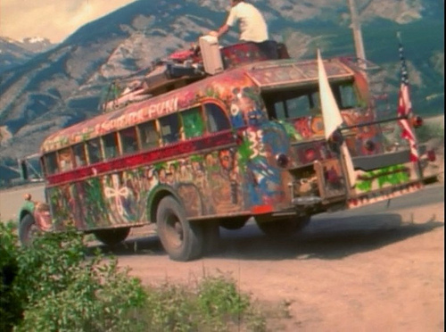 "Ken Kesey and his ""Merry Band of Pranksters"" painted his ""Further"" bus in psychedelic patterns in 1964 and drove it around the United States to host LSD experimentation parties. (Via Rcarlberg, WikiCommons)"