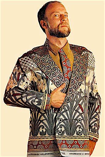 Bruce Bradbury in the 1990s, wearing a jacket and tie made from his company's wallpaper. Photo via Bruce Bradbury.