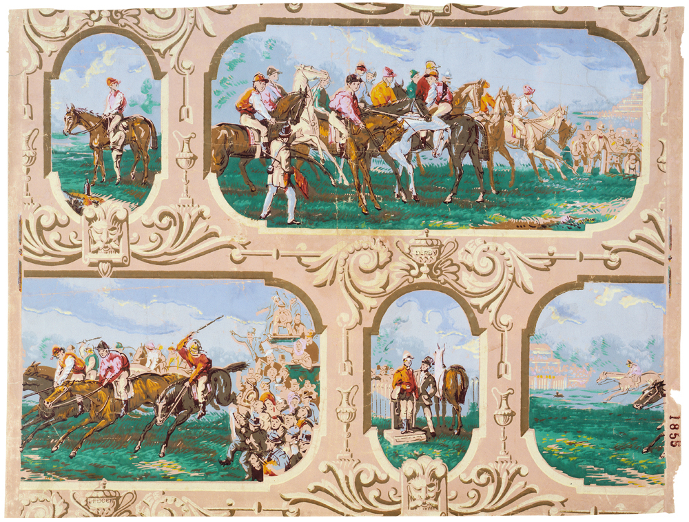 During much of the 19th century, wallpaper designers in England and France made it their dubious goal to duplicate the look of pictures at an exhibition, complete with fake framing. Via the V&A.