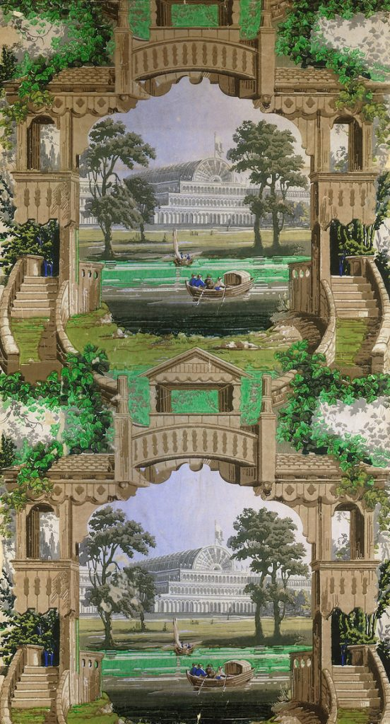 Other misguided 19th-century wallpaper designers did not give enough thought to the impact of repeating the same image (in this case, London's Crystal palace) over and over again. Via the V&A.