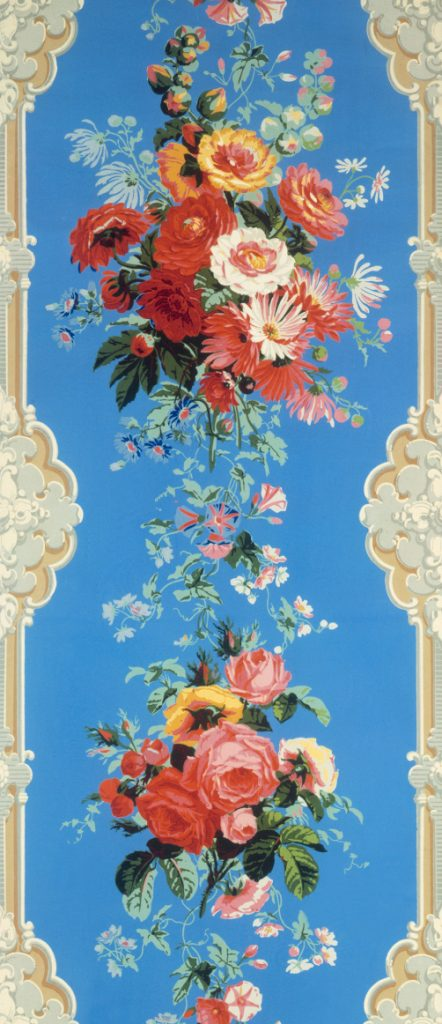 Almost-but-not-quite-realistic wallpaper like this prompted designers in the second half of the 19th century to decree that because walls are flat, their decorations should be, too. Via the V&A.