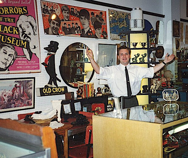 Cerny behind the counter at Wrigleyville Antique Mall, circa 1990s.