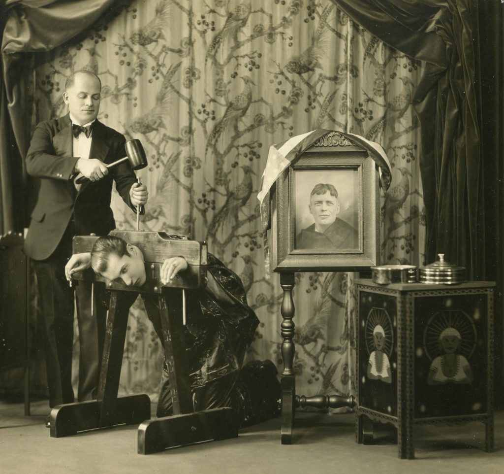 "Lately, Cerny has been collecting photographs of obscure magicians. This is ""Rosetti, The Great,"" photographed in 1930 with an assistant and a portrait of Charles Lindbergh."