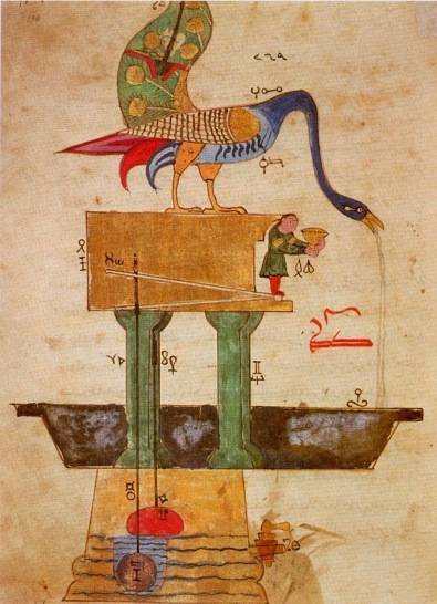 A drawing from Isma'il Ibn al-Razzaz al-Jazari's The Book of Knowledge of Ingenious Mechanical Devices shows his concept for the Peacock Fountain for royal hand-washing.