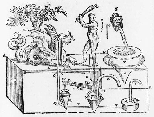 "This interpretation of Hero's ""Hercules and the Beast"" was drawn in 1598 as an illustration for a translation of On Pneumatics. (Via Robot Evolution)"