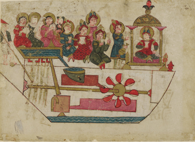 "In the 12th century, Isma'il Ibn al-Razzaz al-Jazari designed this water-driven miniature ""robot band"" that sat in a boat on a lake and played music for royal guests."