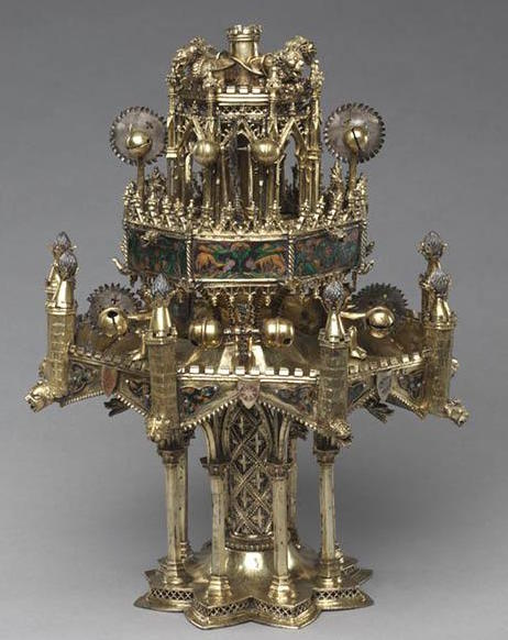 This Gothic table fountain with small automata, now held at the Cleveland Museum of Art, was thought to a popular showpiece for European aristocrats in the 14th and 15th centuries. Because such animated fountains were made of precious metals, most were melted down. (Via the Cleveland Museum of Art)