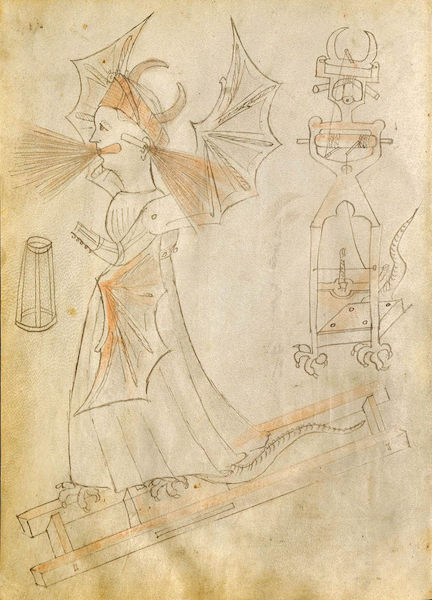 A page from Giovanni de Fontana's sketchbook, The Book of Warfare Devices, from 1420.