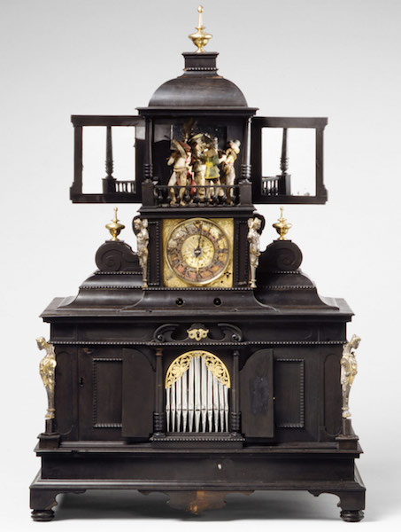 This musical clock with dancing automata, spinet, and organ was made by Velt Langenbucher and Samuel Bidermann circa 1625. (Via The Met Museum)