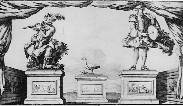 An illustration of three automata built by Jacques de Vaucanson, the Flute Player, the Duck, and the Drummer. (Via the Rare Book and Special Collections Division, Library of Congress)