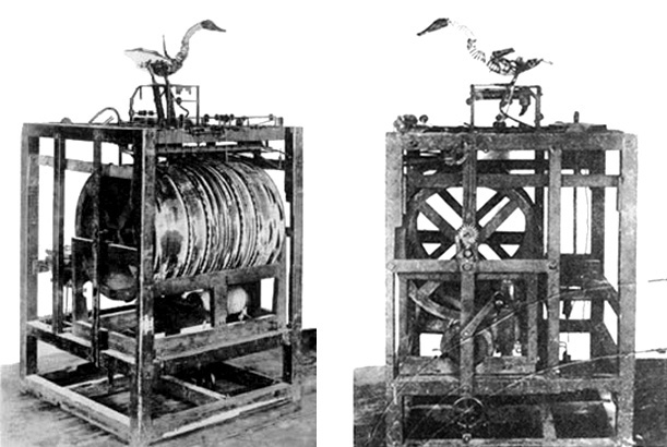 Photographs of Vaucanson's Digesting Duck, taken in the 19th century. (Via WikiCommons)