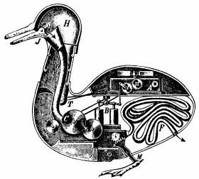 An American artist's drawing that's an incorrect guess about how the Digesting Duck worked. (Via WikiCommons)
