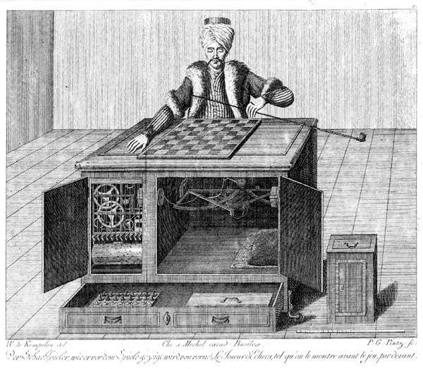 A 1783 copper engraving of the Turk, showing the open cabinets and working parts. Kempelen was a skilled engraver and may have produced this image himself. (Via WikiCommons)