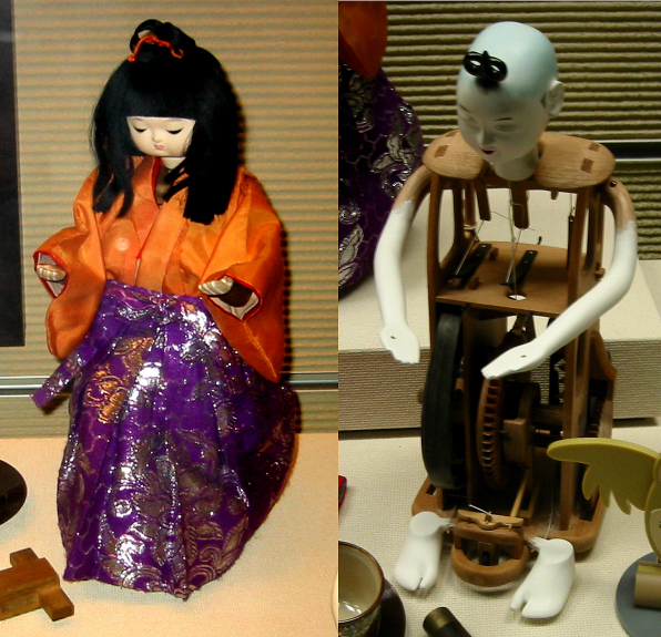A 19th-century tea-serving automaton doll compared with a similar disrobed figure, its internal mechanisms revealed. (Via Tokyo National Science Museum, WikiCommons)