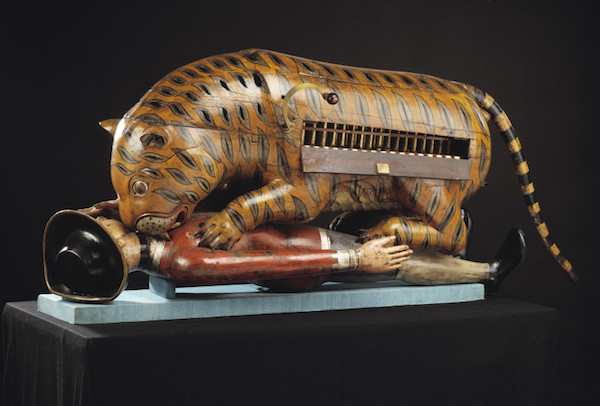 Tipu's Tiger, a life-size Indian musical automata of a wild cat eating an Englishman, also contains a playable organ. (From the Victorian and Albert Museum, via WikiCommons)