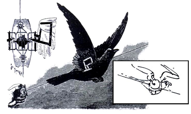 "In the early 16th century, Leonardo da Vinci sketched a mechanical dove (inset), a concept made into a mechanical toy in the 19th century (main image). (From ""Leonardo's Lost Robots"")"