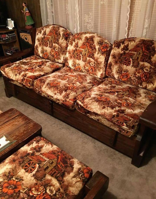 Top: This sofa's shape, structure, and colors are almost identical to my grandmother's couch. (Via Coffeesnob) Above: The picture pattern of this wood-frame sofa may be closer to the actual print of Grandma's couch. (Via Reddit)