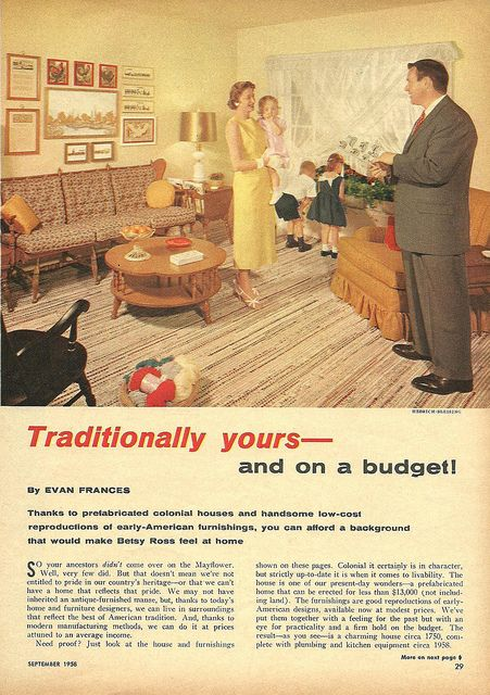 "An article in the September 1958 edition of ""Family Circle"" extols the virtues of affordable, new Colonial Revival and Early American furniture. (Via Flickr)"