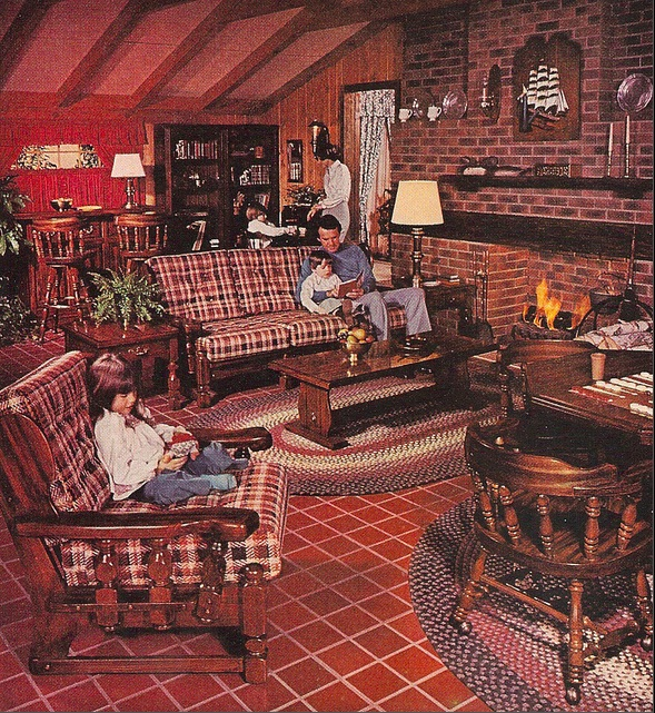 "Another 1977 ad for the Sears Open Hearth Country Home furniture line. Tartan plaid made of indestructible synthetic weaves, Windsor chairs, red tile, braided rugs, and patriotic colors were all a part of the ""Spirit of '76"" Colonial Revival. (Via Pinterest)"