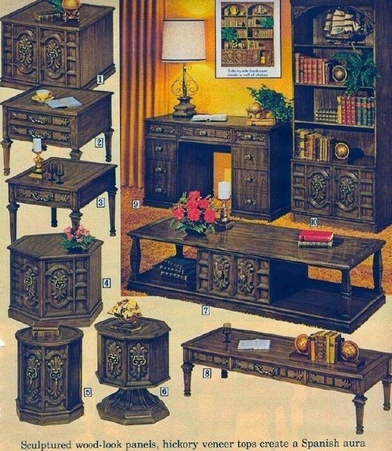 This 1970s catalog page shows Spanish or Mediterranean style furniture, heavy with carved wood gewgaws. (Via Pinterest)