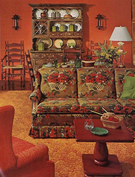 "Pam Kueber's favorite ""Bicentennial Chic"" room from a 1970s Ethan Allen catalog. (Via Retro Renovation)"