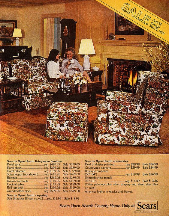 "The ""floral sofa"" in this Sears Open Hearth Country Home ad, which appeared in the May 1977 issue of ""Redbook,"" is the closest advertising image I've found to the Grandma Couch. (Via classic_film on Flickr/Creative Commons)"