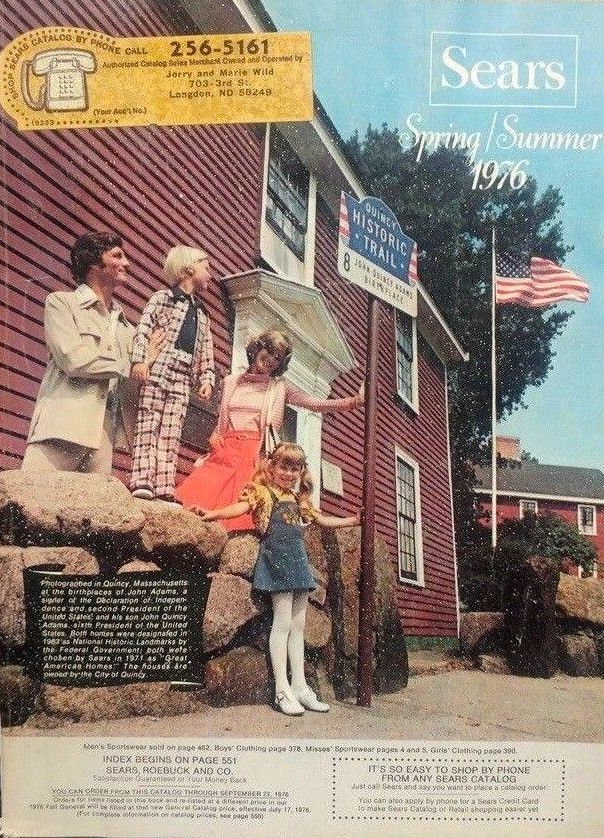 The Spring/Summer 1976 Sears catalog shows a family touring the home of Founding Father John Adams in Quincy, Massachusetts. (Via eBay)