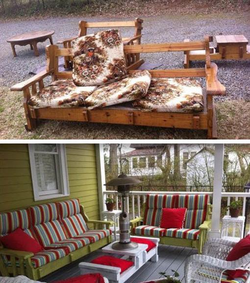 Christine's Creations in Woodstock, Georgia, upcycled this grandma furniture set into stylish outdoor furniture. But who's to say how long apple green and apple red will be en vogue? (Via Pinterest)