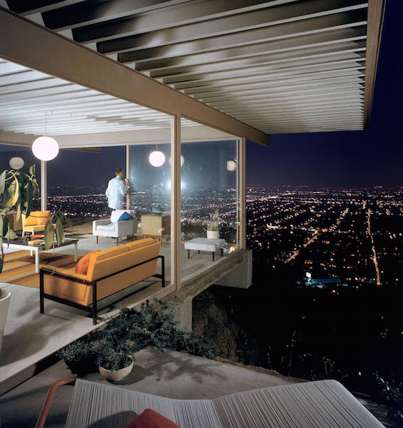 "The iconic Case Study House No. 22 was designed by architect Pierre Koenig for Clarence ""Buck"" Stahl and built in the Hollywood Hills in 1959. (Photo by Julius Shulman, © J. Paul Getty Trust. Getty Research Institute, Los Angeles)"