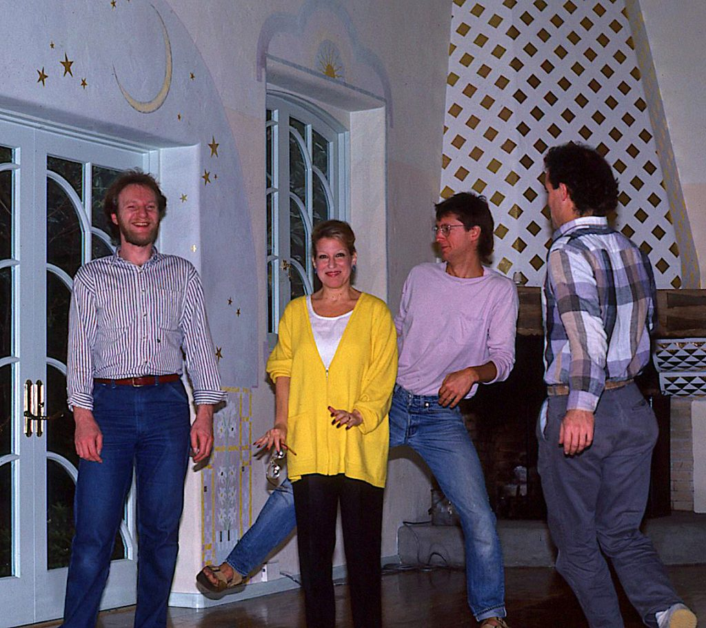 From left: Tom Ciesla, Bette Midler, George Zaffle, and Ken Huse at Midler's home in Los Angeles. Photo by Ken Huse.