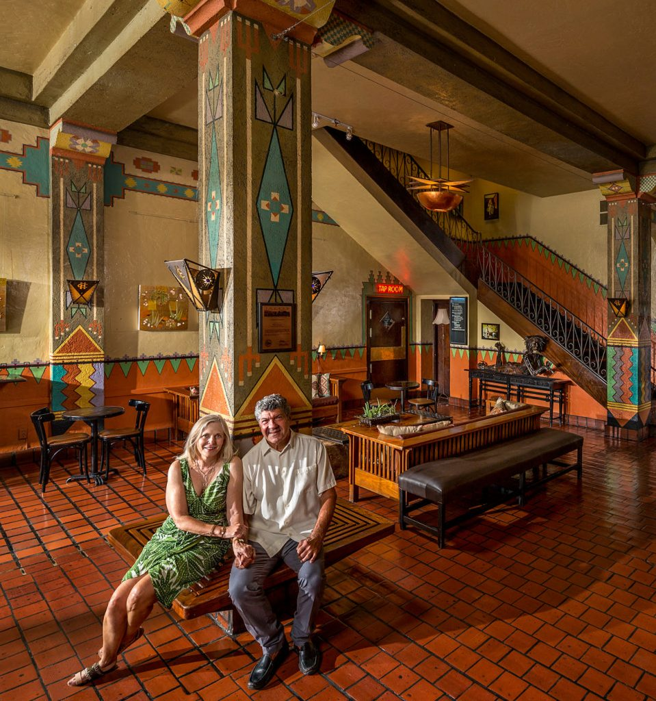 Richard and Shana Oseran commissioned Larry Boyce to paint the lobby of their hotel, the Hotel Congress, in Tucson, Arizona.