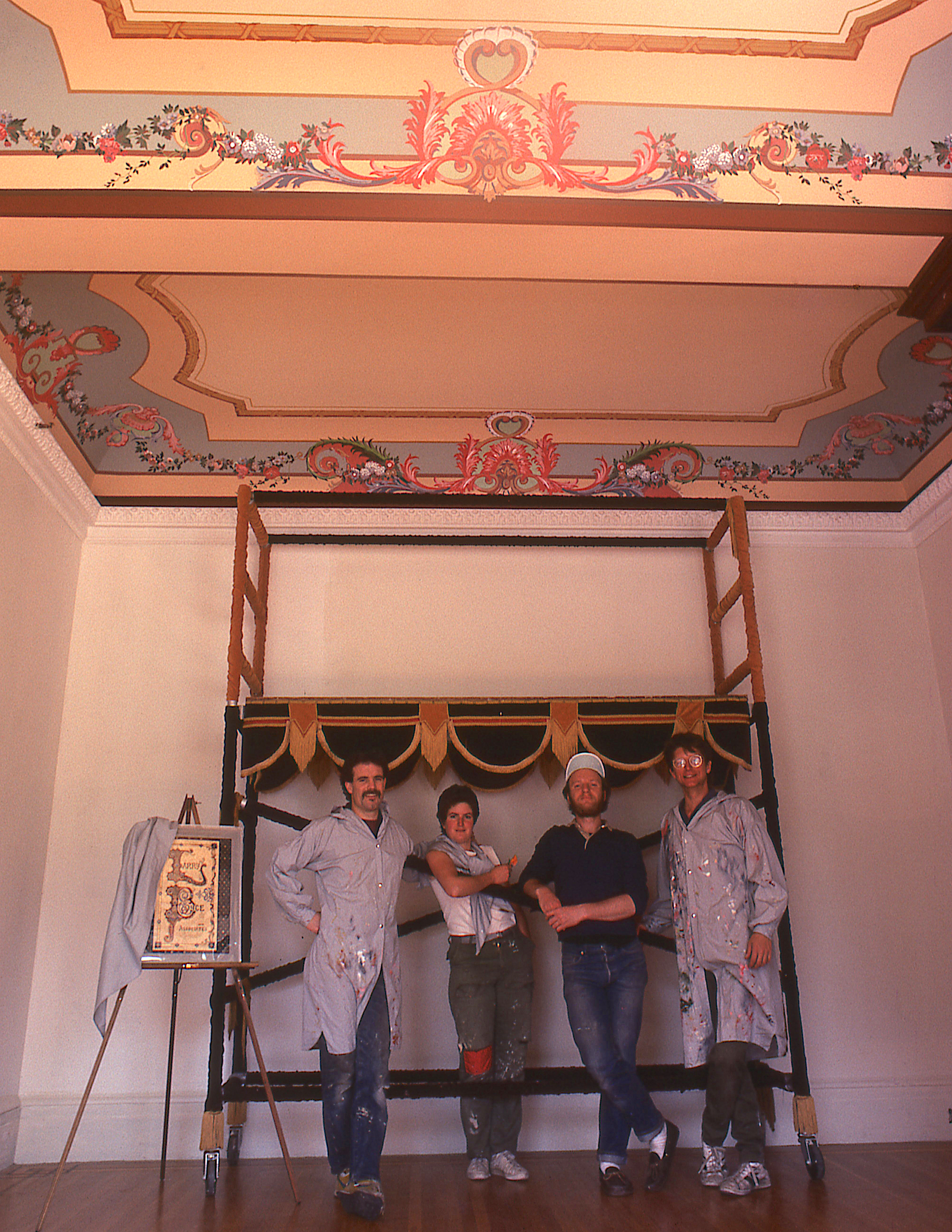 Painting the Archbishop of San Francisco's mansion. From left: Ken Huse, Emma Wright, Tom Ciesla, George Zaffle.