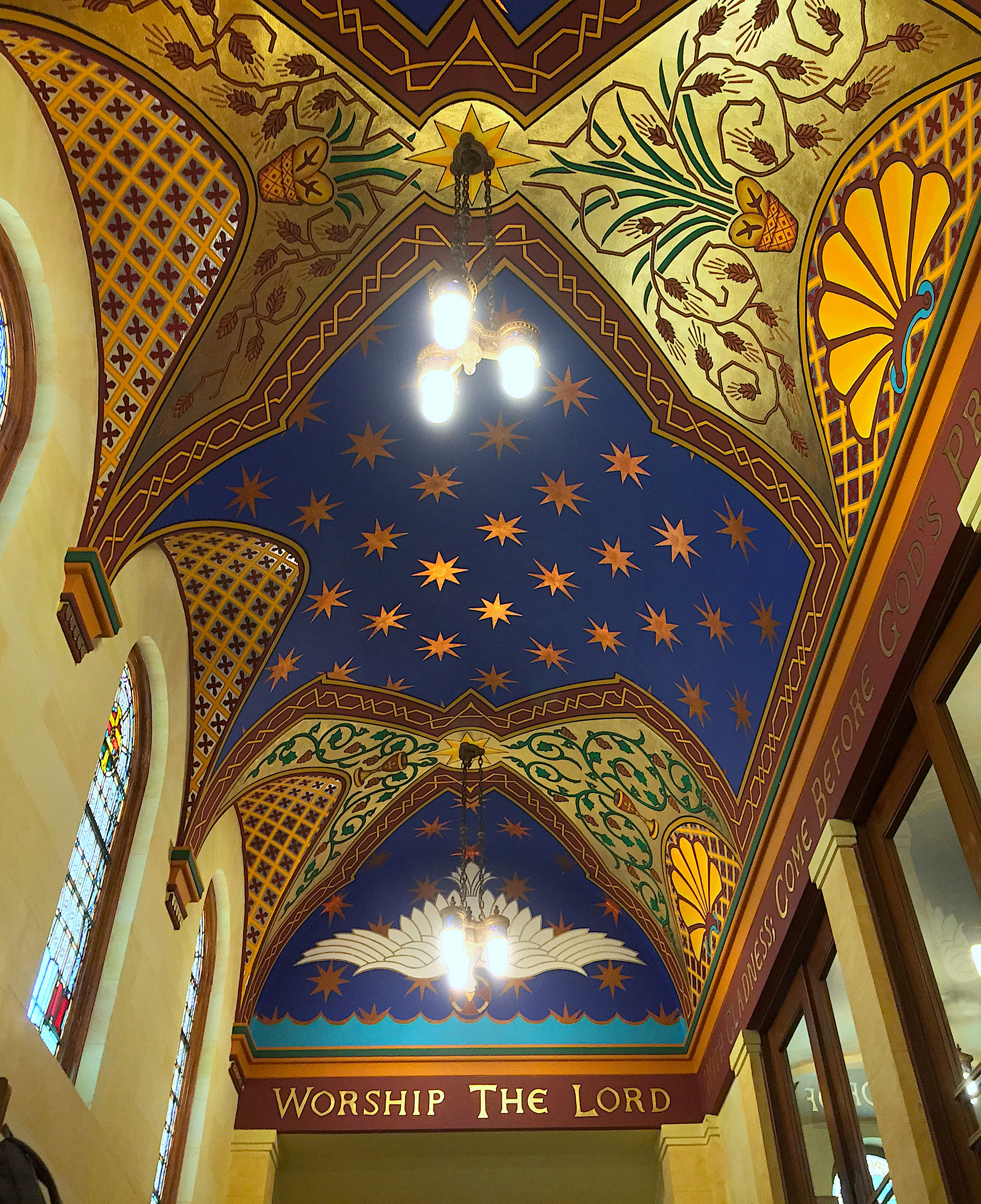 The Exonarthex Ceiling at Old First Presbyterian Church in San Francisco was Larry Boyce's last project, completed by volunteers after he died in 1992. Photo by Hunter Oatman-Stanford.