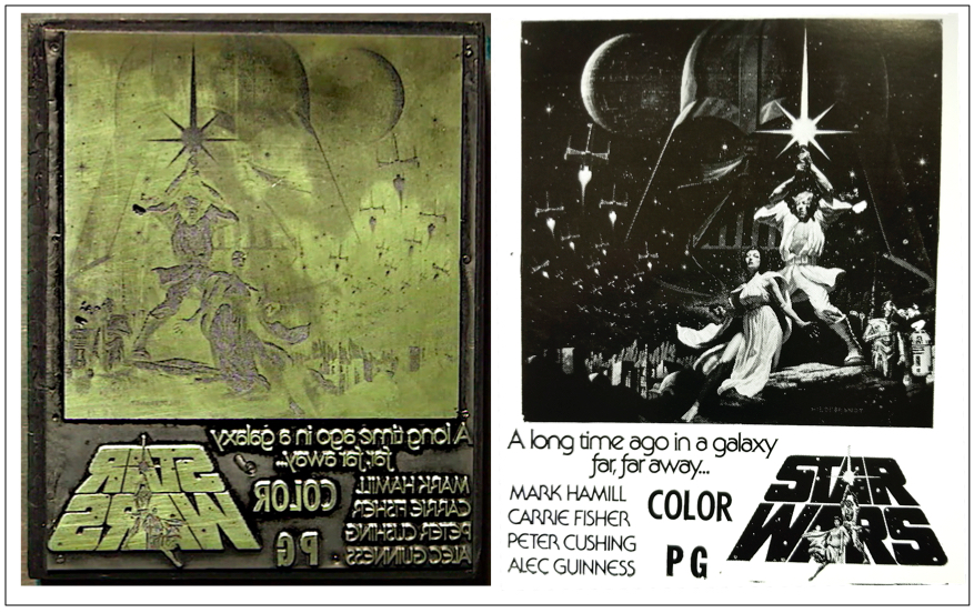 "Top: Greg Hildebrandt with his new, re-creation of the painting he and his brother, Tim, produced for a ""Star Wars"" poster in 1977. Above: The same 1977 image on one of DJ Ginsburg""s and Marilyn Wagner's print blocks (left), with a strike of the block (right)."