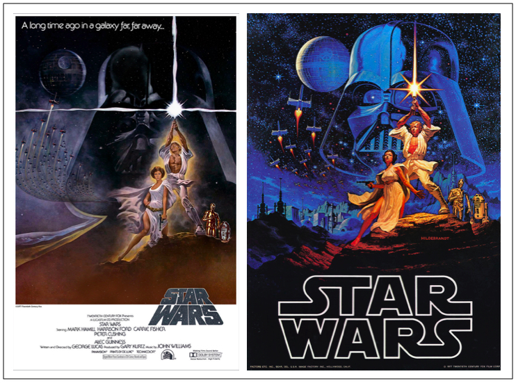 "Tom Jung designed the first ""Star Wars"" poster (left) with Luke and Leia in a heroic pose and Darth Vader behind them, but Lucas wanted the design to be more ""comic-booky,"" so the Brothers Hildebrandt were hired. Their version (right) is more colorful, with a pulp paperback feel."