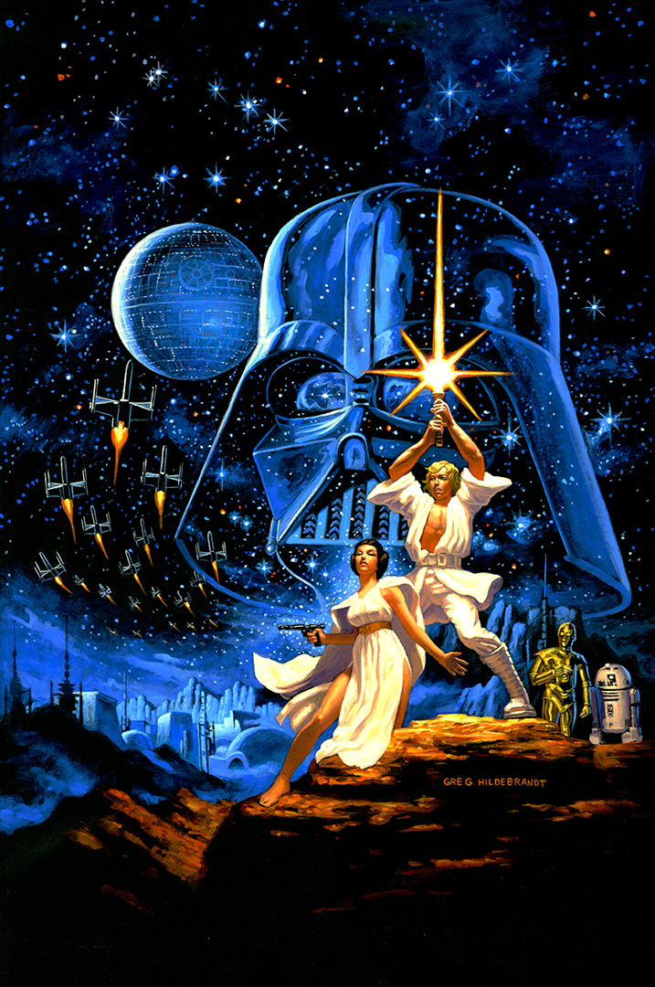 "Greg Hildebrandt's 2018 re-creation of his and his brother's 1977 ""Star Wars"" painting will be on view in October at New York Comic Con before going up for auction in November."