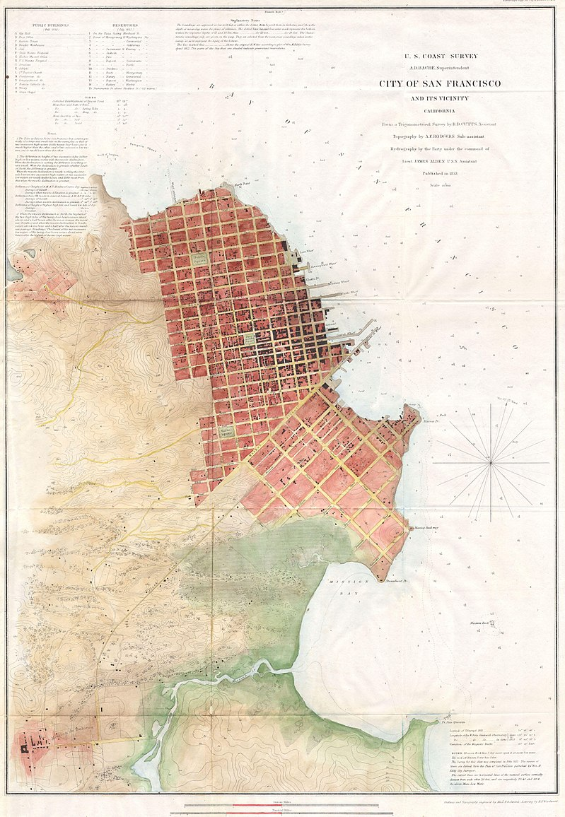 Top: A Victorian-era home is bulldozed for the Western Addition urban-renewal project during the 1960s. Image via the San Francisco History Center, San Francisco Public Library. Above: This 1853 map of San Francisco by the U. S. Coast Survey shows the city grid spreading outward from its port, with larger blocks south of Market Street. Via Wikimedia. (Click to enlarge.)